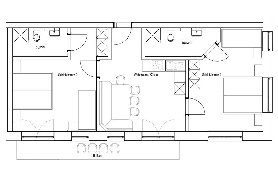 Grundriss 2 Schlafzimmer