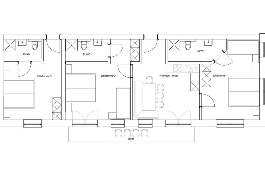Grundriss 3 Schlafzimmer